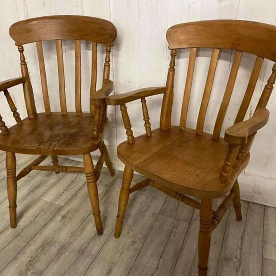 Pair of Vintage Beech Elbow Chairs