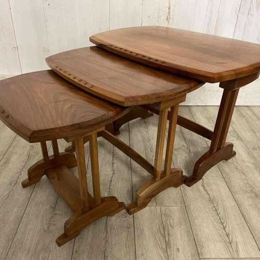 Cotswold School Walnut Nest of 3 Tables