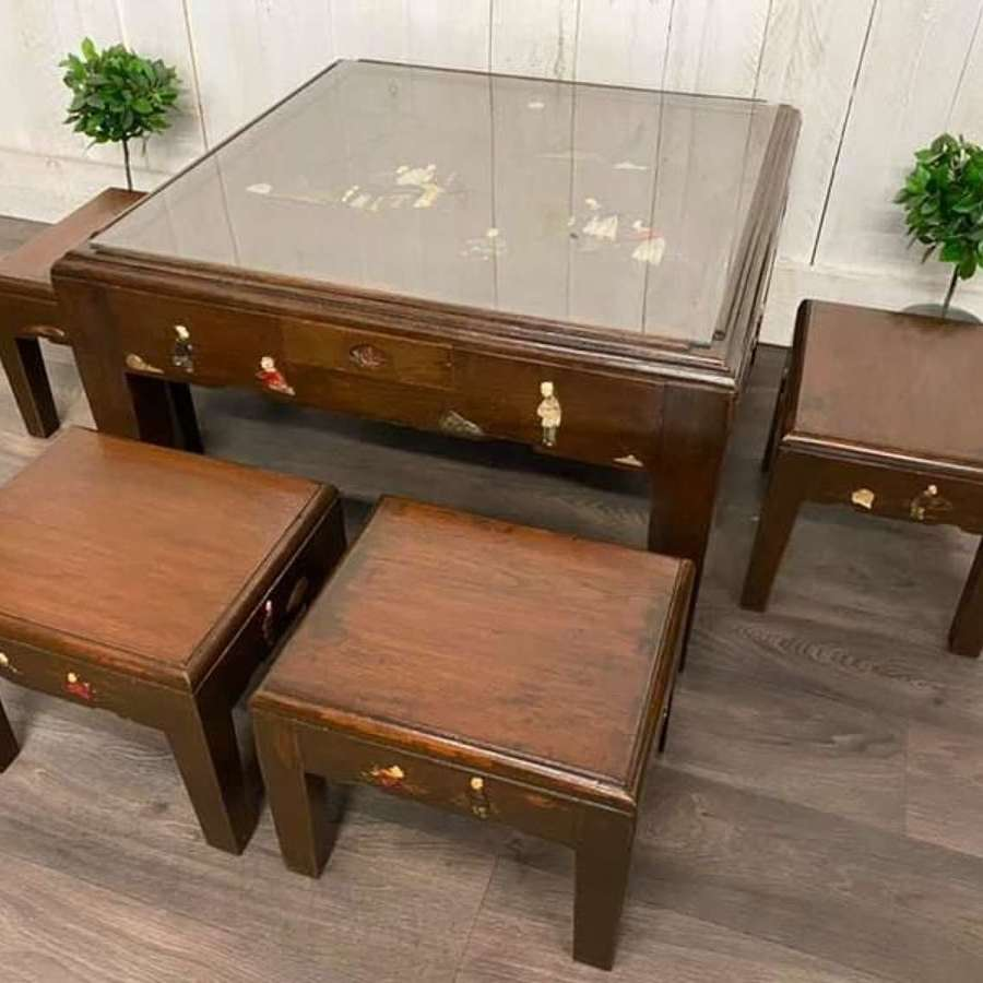Chinese Tea Table and Low Stools Set