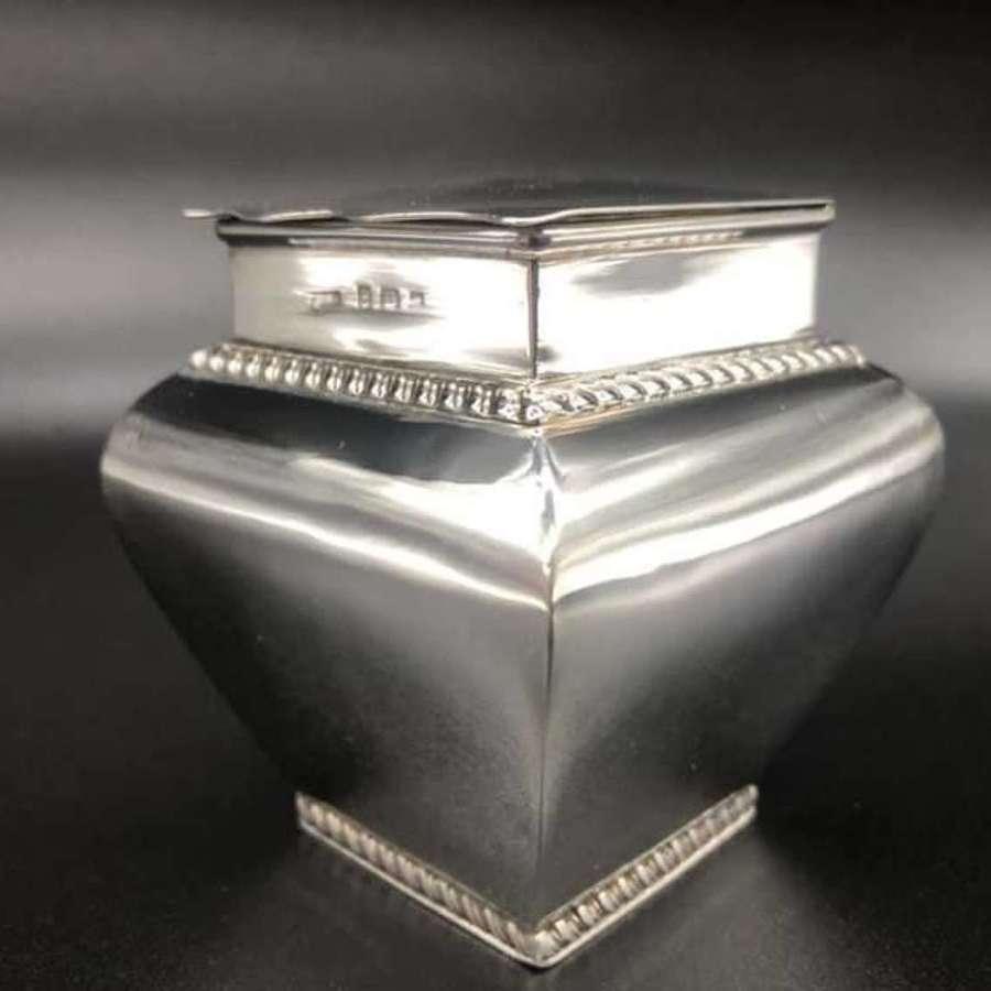Edwardian Silver Tea Caddy Birmingham 1906