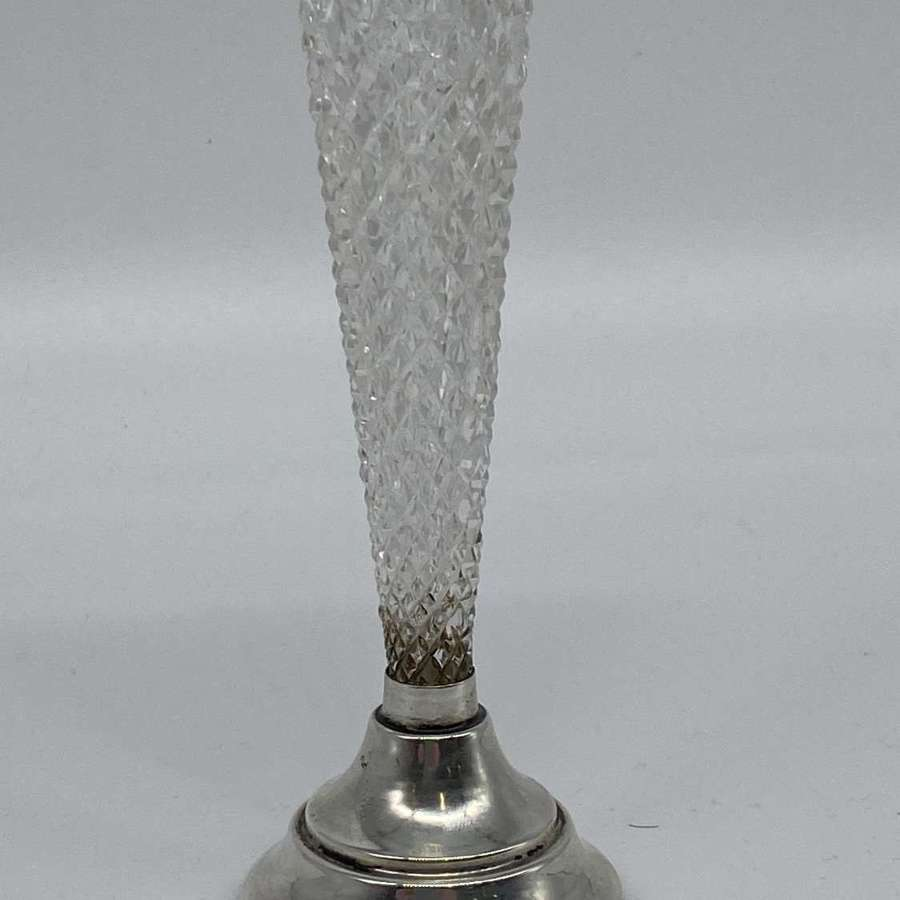 Cut Glass and Solid Silver Bud Vase