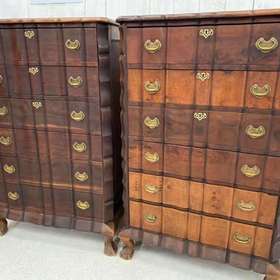 Pair of Large Dutch Bank of Drawers