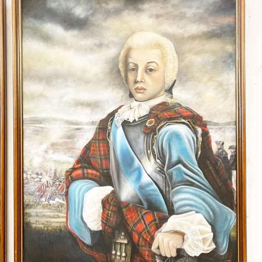 Large Oil on Canvas Bonnie Prince Charlie