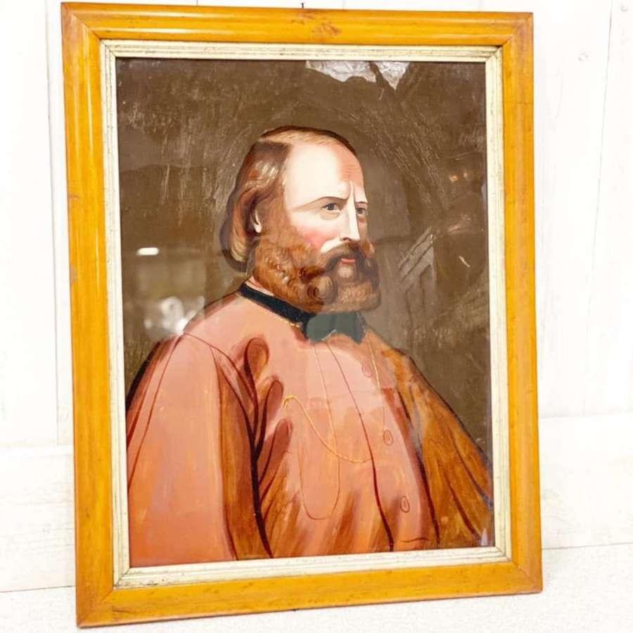Giuseppe Garibaldi Reverse Oil on Glass Painting