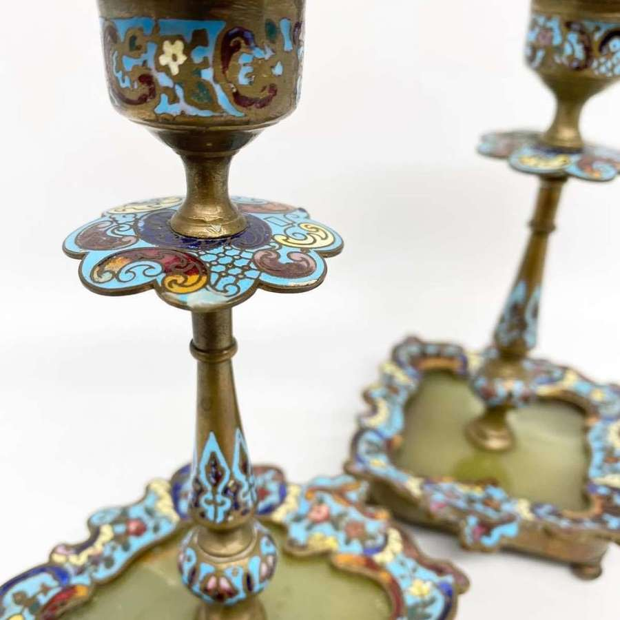 Pair of Champleve Candlesticks