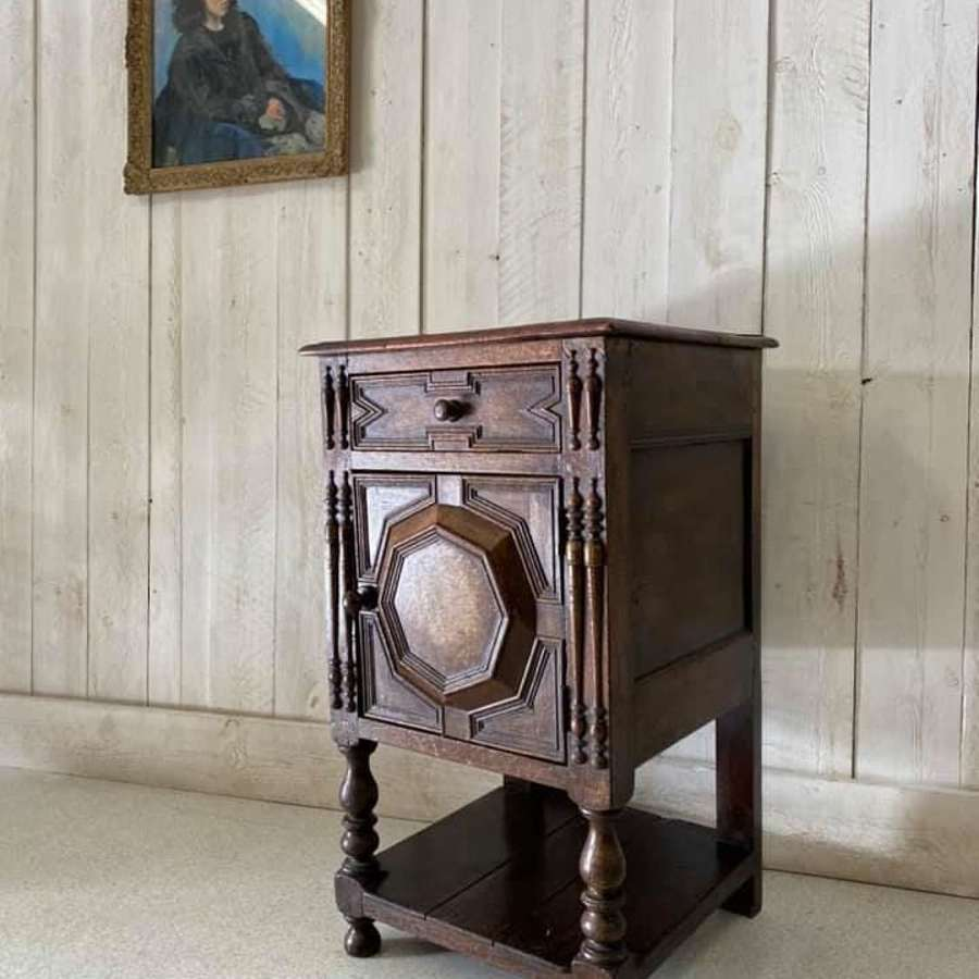 Oan and Walnut Geometric Cabinet