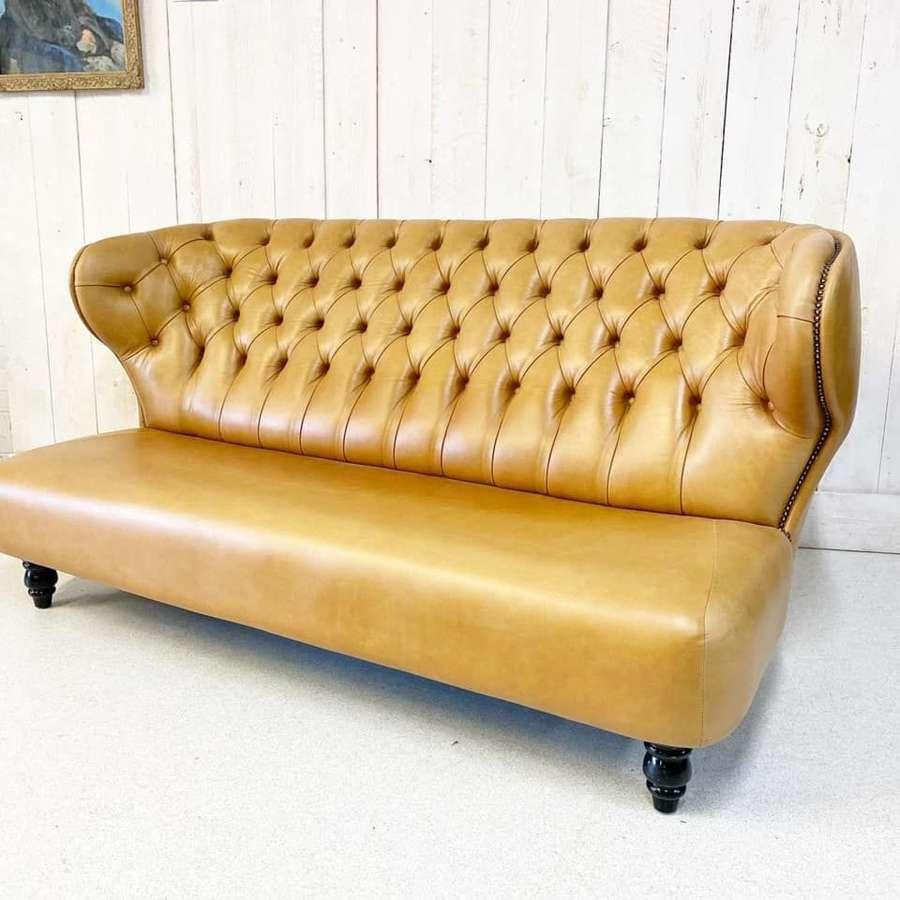 Vintage Tan Leather Sofa